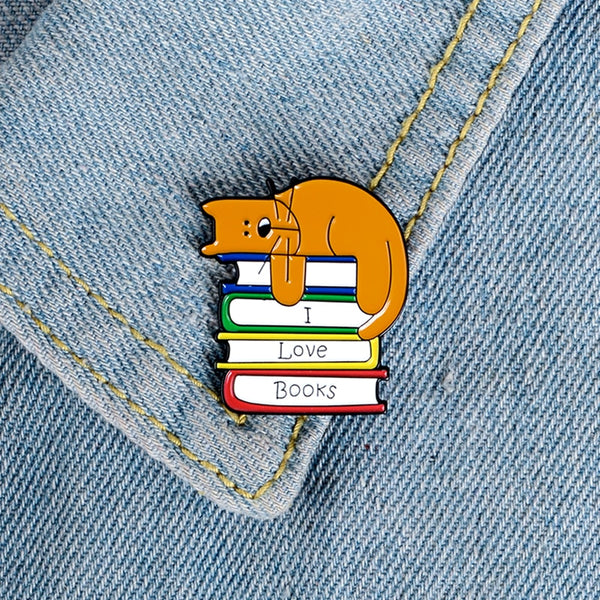 I Love Books Cat Brooch - Navya