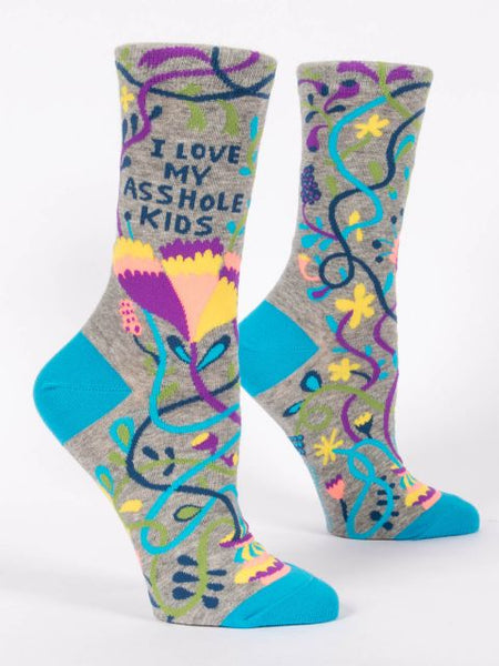 Women's Crew Socks - I Love My A**** Kids - Blue Q - Navya