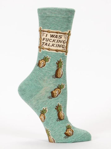 Women's Crew Socks - I was F****** Talking - Blue Q - Navya
