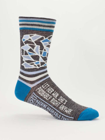 Men's Crew Socks - Let Her Win - Blue Q - Navya