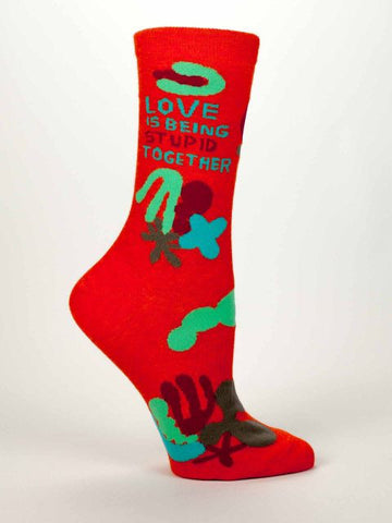 Women's Crew Socks - Love Is Being Stupid - BlueQ - Navya
