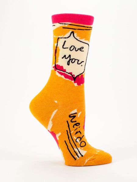 Women's Crew Socks - Love You Weirdo - Blue Q - Navya