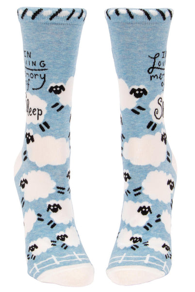 Women's Crew Socks - In Loving Memory Of Sleep - Blue Q