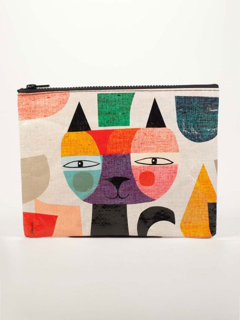 Mister Cat Zipper Pouch - Blue Q - Navya