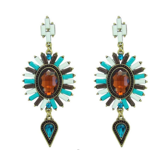 Mixed Gem Statement Earring - Navya