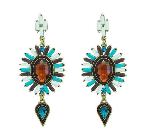 Mixed Gem Fashion Statement Earrings - Navya