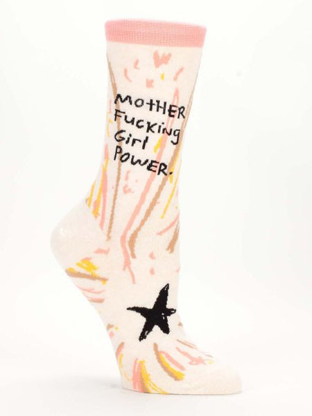 mother fucking girl power blue q crew socks right