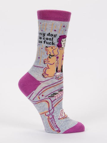 Women's Crew Socks - My Dog is Cool as F*** - Blue Q - Navya
