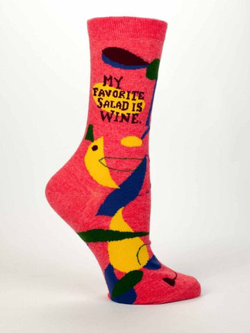 Women's Crew Socks - My Favorite Salad is Wine - Blue Q - Navya