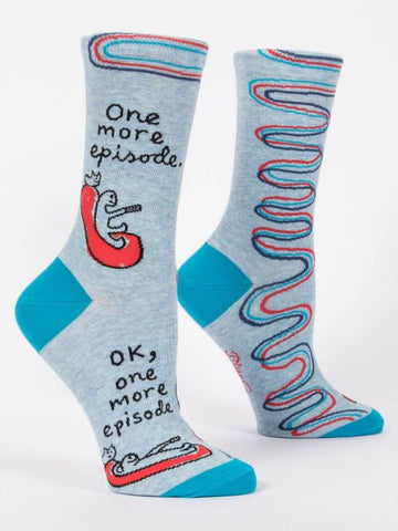 Women's Crew Socks - One More Episode - Blue Q - Navya