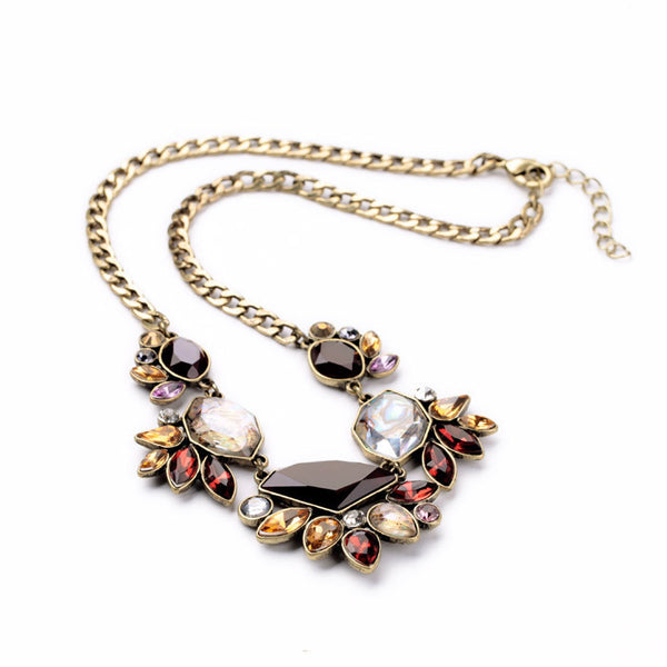 Opalescent Wine Shade Statement Necklace - Navya
