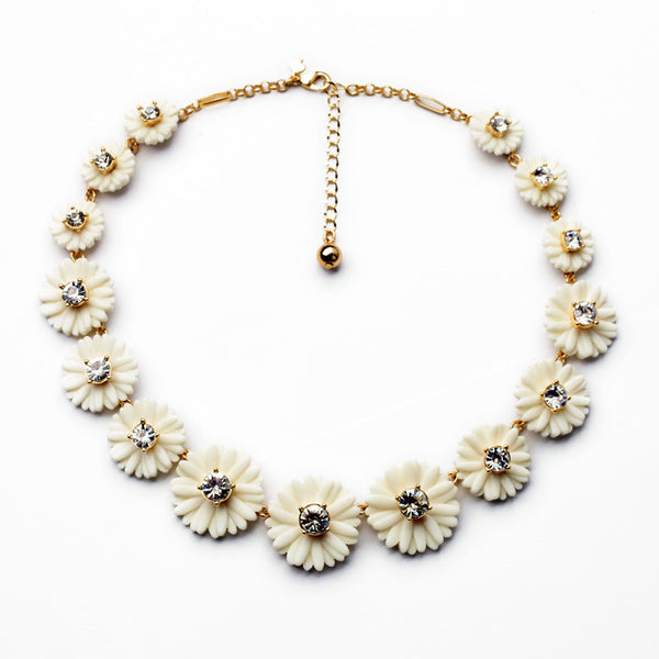 White Pear Blossom fashion statement Necklace