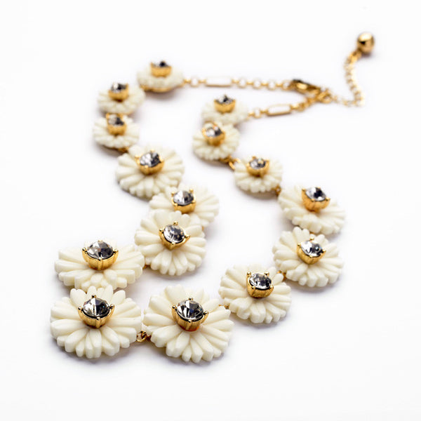 White Pear Blossom fashion statement Necklace cut