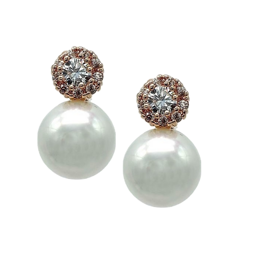 Pearl Drop Rose Gold Earrings - Navya