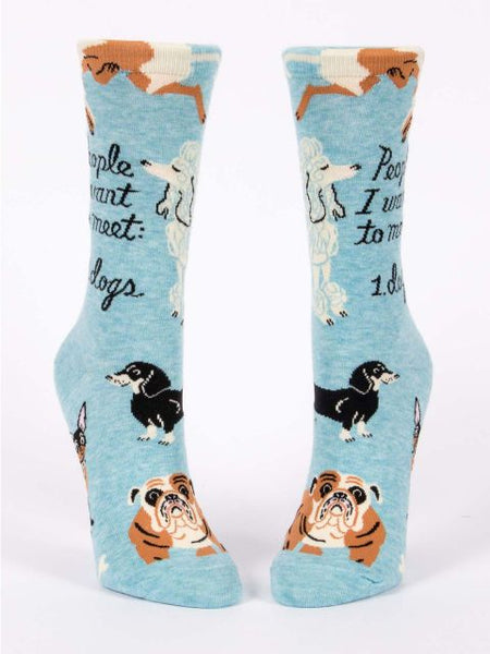 Women's Crew Socks - People I Want to Meet: Dogs - Blue Q - Navya