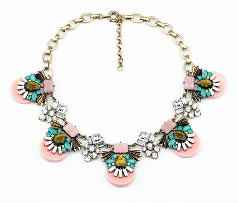Pink Candy with Aqua Crystals fashion Statement Necklace full