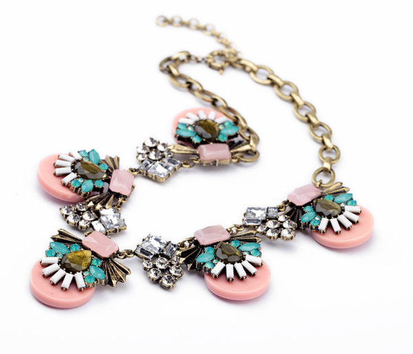 Pink Candy with Aqua Crystals Statement Necklace - Navya