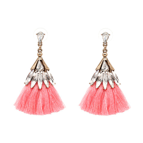 Pink Crystal Tassel Statement Earrings - Navya