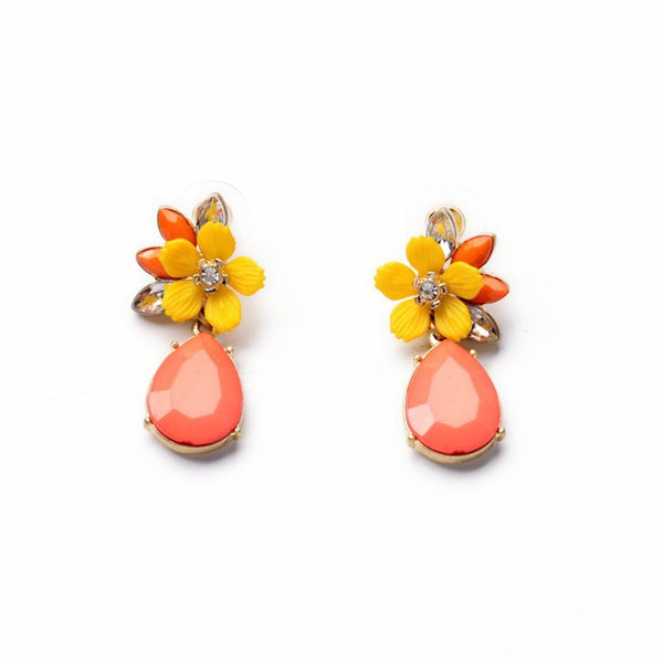 Pink Water Drop and Fun Floral Stud Earrings