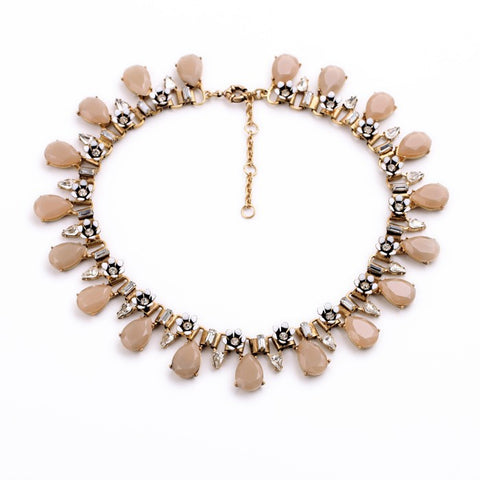 Mia Pink Water Drop Statement Necklace - Navya