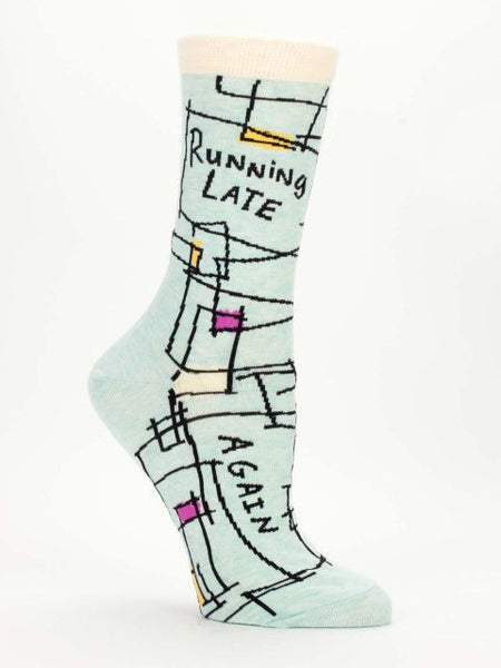 Women's Crew Socks - Running Late, Again - Blue Q - Navya