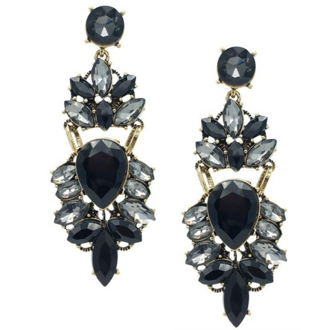 Shiny Black Statement Earrings - Navya
