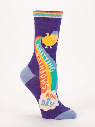Women's Crew Socks - Shitting Rainbows - Blue Q - Navya
