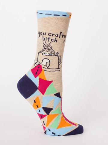 Women's Crew Socks - You Crafty Bitch - Blue Q - Navya