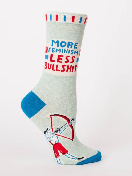 Women's Crew Socks - More Feminism, Less Bullshit - Blue Q - Navya