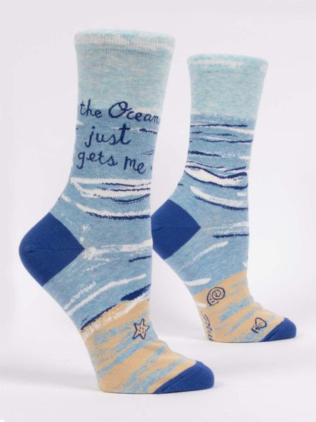 Women's Crew Socks - The Ocean Just Get Me - Blue Q