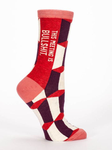 Women's Crew socks - This Meeting is Bullshit - BlueQ - Navya