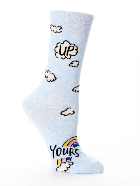 up yours blue q crew socks left
