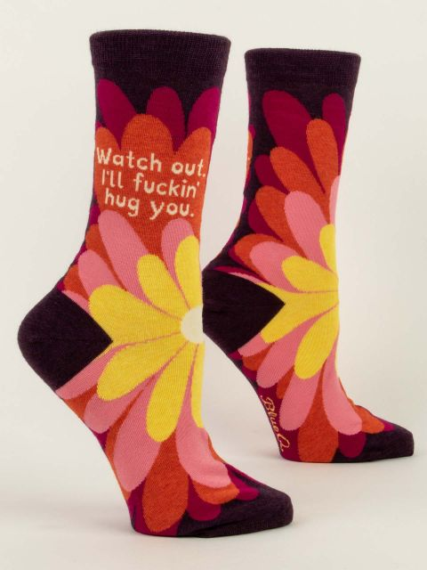 Women's Crew Socks - Watch Out I Will Hug You - Blue Q