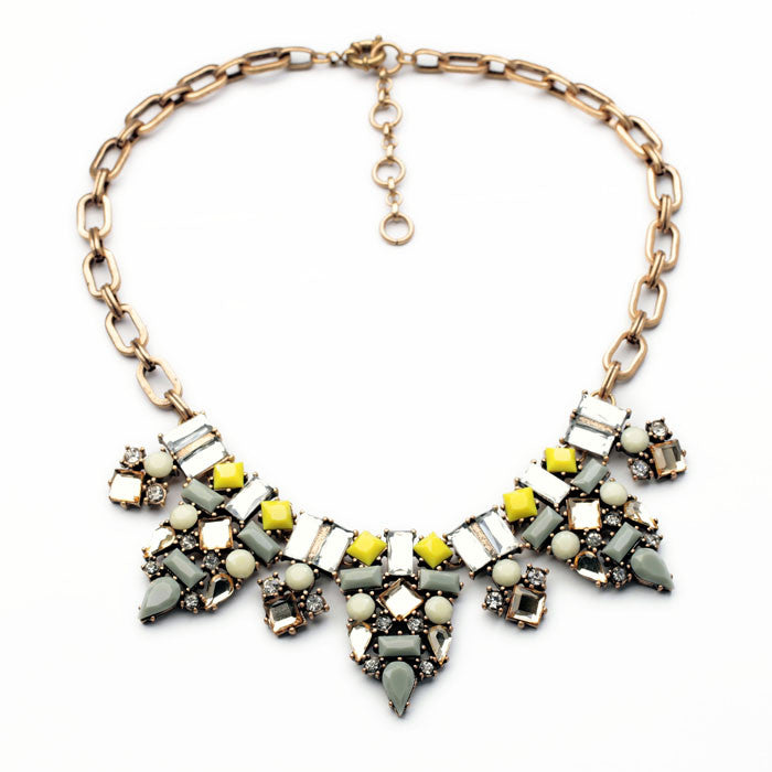 Grey-Yellow Meleagris Statement Necklace - Navya