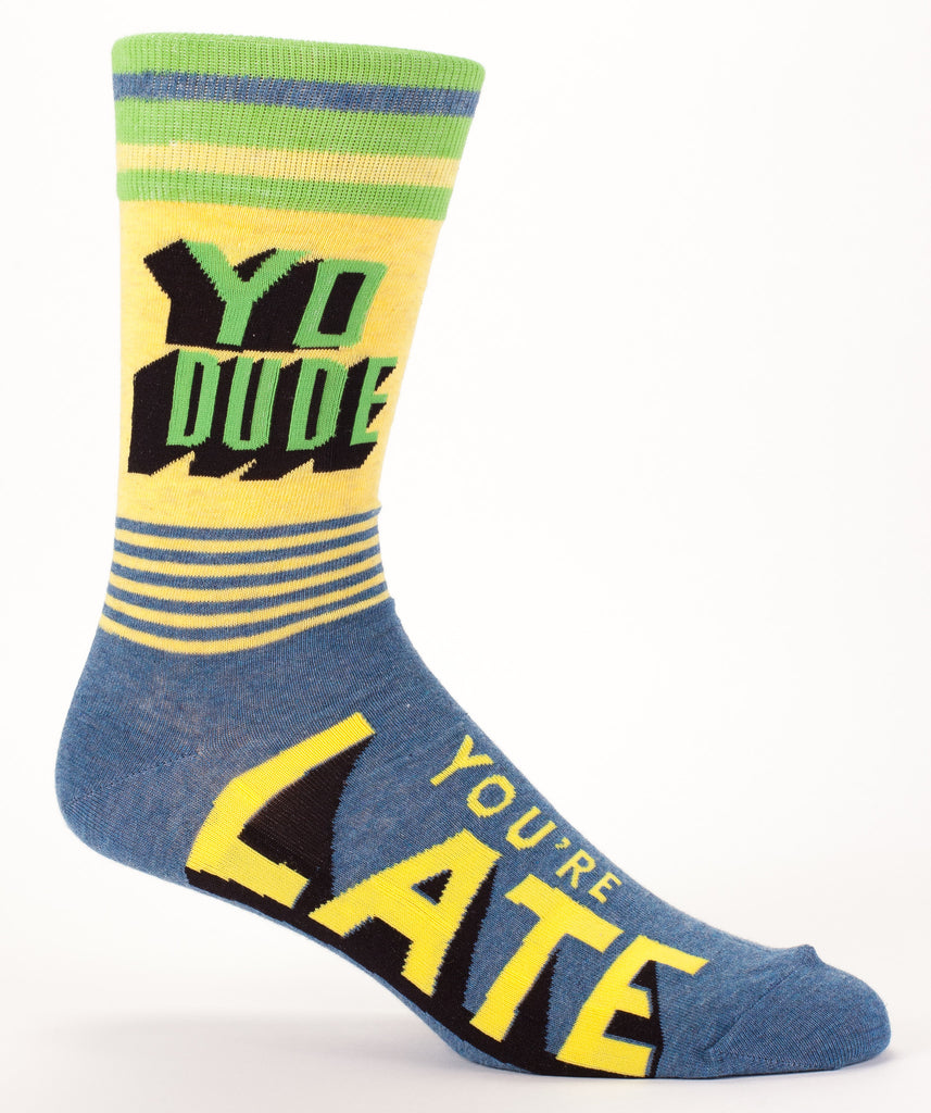 Men's Crew Socks - Yo Dude. Your're Late - Blue Q - Navya