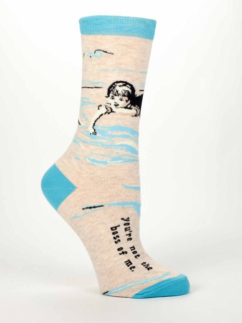 Women's Crew Socks -You're Not The Boss Of Me - Blue Q - Navya