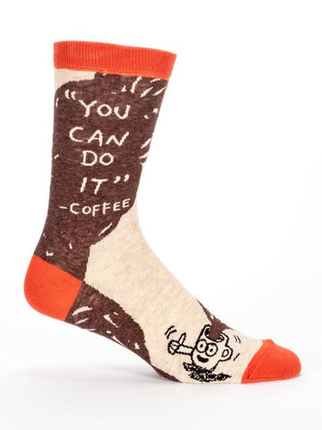 Men's Crew Socks - You Can Do It Coffee - Blue Q - Navya