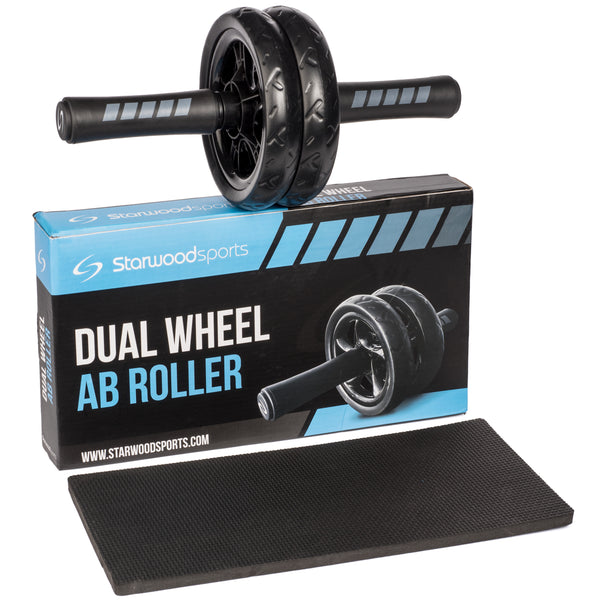 Dual Wheel Ab Roller Wheel with Knee Mat – Core Exerciser for Fitness – Abdominal Strengthening