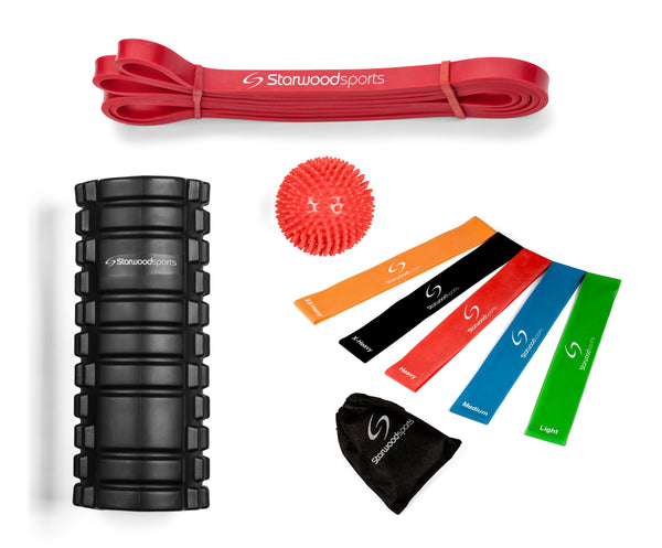 Foam Roller, Loop Bands set of 5, Spiky Massage Ball and Red Pull up Band (15-35 lbs)
