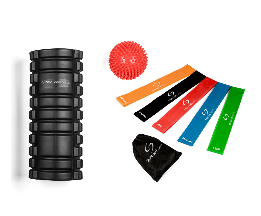 Foam Roller, Resistance Loop Bands and Spiky Massage Ball Set