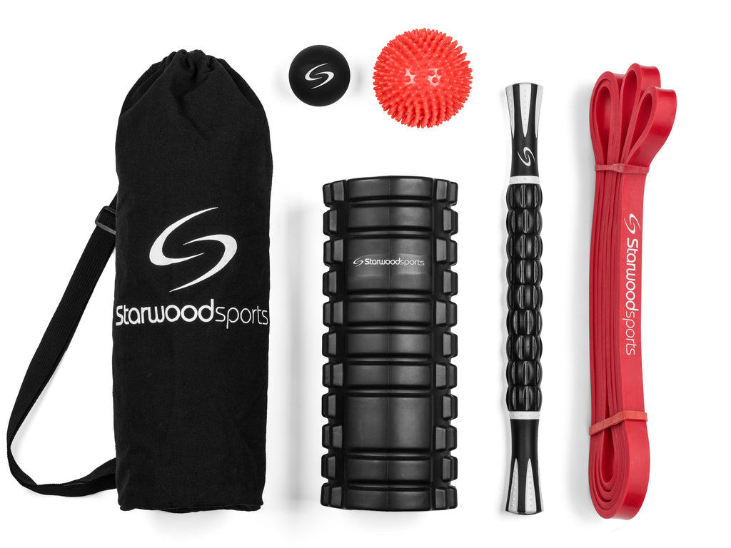Foam Roller Set Includes Foam Roller, Massage Stick, Lacrosse Ball, Spiky Massage Ball and Red Mobility Band (15-35 lbs)