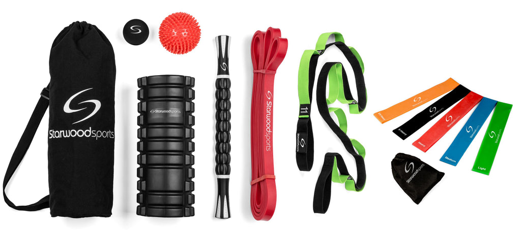 Foam Roller, Massage stick and Massage Balls with Stretching Strap, Red Mobility Band (7-16 kg) and Loop band set of 5