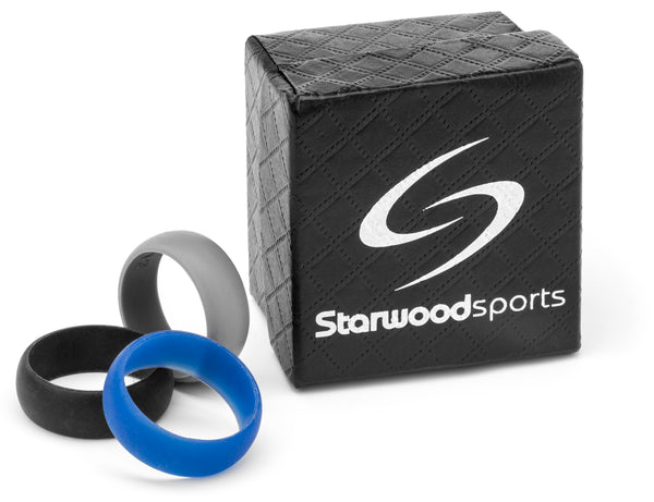 Men's Silicone Wedding Ring for Safety or the Gym Set of 3