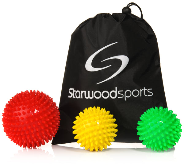 10 cm Very Firm, 7 cm Medium Firm and 7 cm Very Firm Spiky Balls and Carry Bag