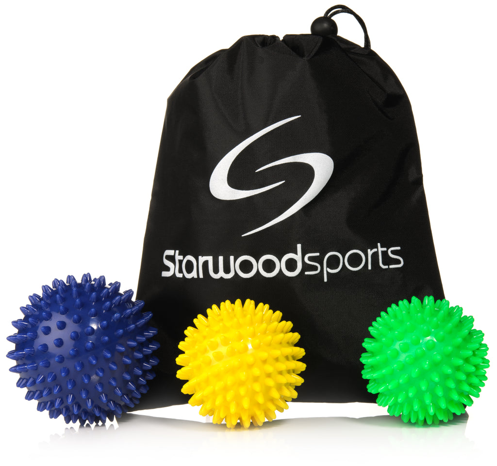 9 cm Medium Firm Spiky 7 cm Very Firm Spiky 7 cm Medium Firm Spiky Balls + Carry Bag