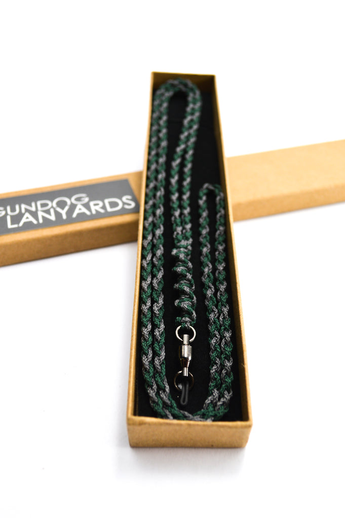 dark green and charcoal woven micro lanyard