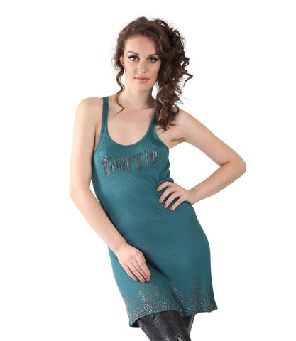 Faith Green Sleeveless Long Top With Embellishment