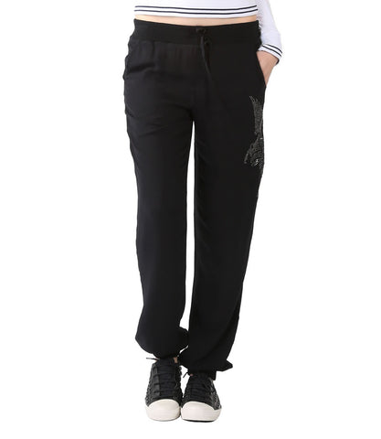 Faith Black Pants With Elasticated  Bottom
