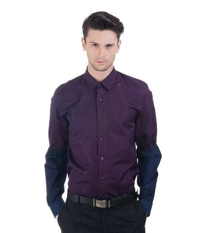 Plain Dark Purple Christian Lacroix Shirt With Navy Sleeves