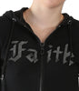 Black Hoodie With Metallic Faith In Front